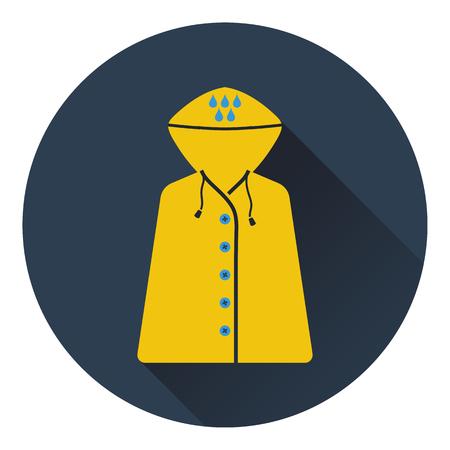 raincoat: Icon of raincoat. Flat design. Vector illustration.