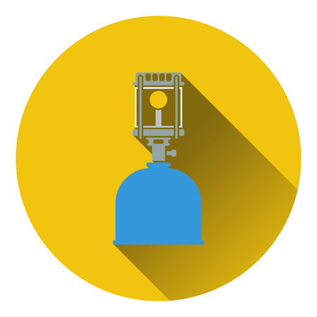lpg: Icon of camping gas burner lamp. Flat design. Vector illustration.