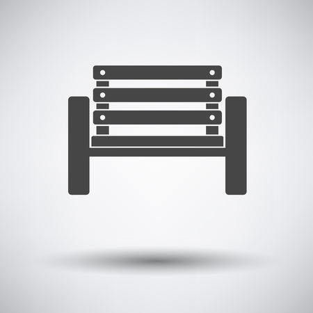 Tennis player bench icon on gray background with round shadow. Vector illustration.