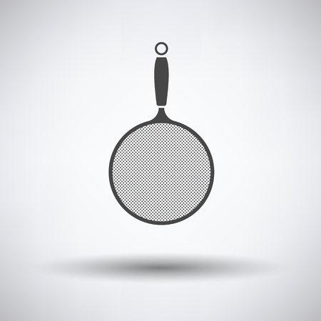 Kitchen colander icon on gray background with round shadow. Vector illustration.