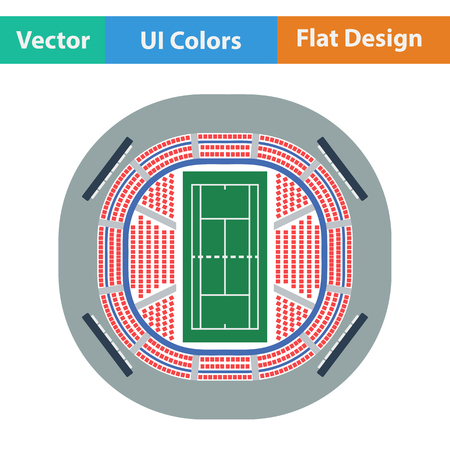 grandstand: Tennis stadium aerial view icon. Flat design. Vector illustration. Illustration