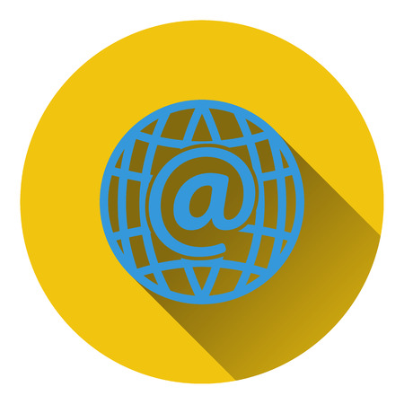 global design: Global e-mail icon. Flat design. Vector illustration.