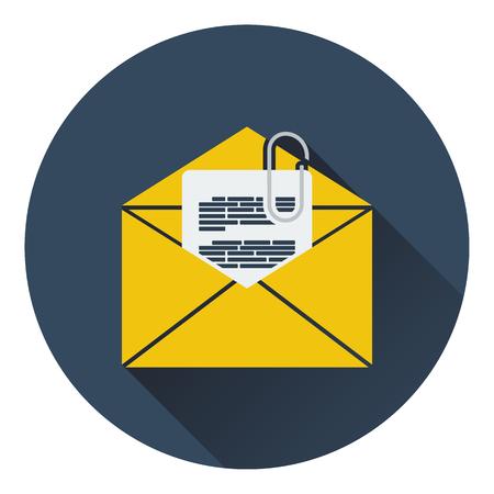 attachments: Mail with attachment icon. Flat design. Vector illustration.