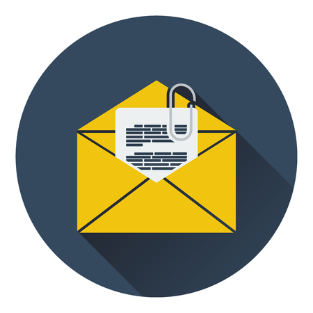 Mail with attachment icon. Flat design. Vector illustration.