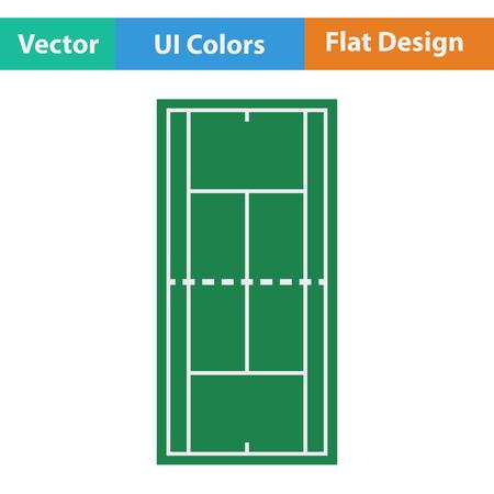 outdoor event: Tennis field mark icon. Flat design. Vector illustration.