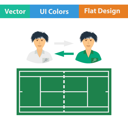 changing: Tennis side changing icon. Flat design. Vector illustration. Illustration