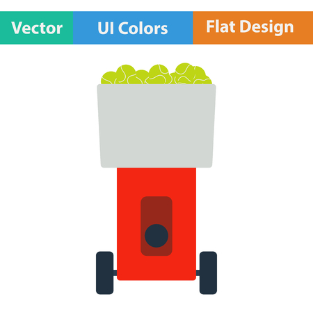tennis serve: Tennis serve ball machine icon. Flat design. Vector illustration.