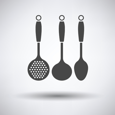 masher: Ladle set icon on gray background with round shadow. Vector illustration.