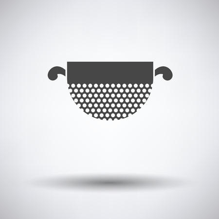 drainer: Kitchen colander icon on gray background with round shadow. Vector illustration.