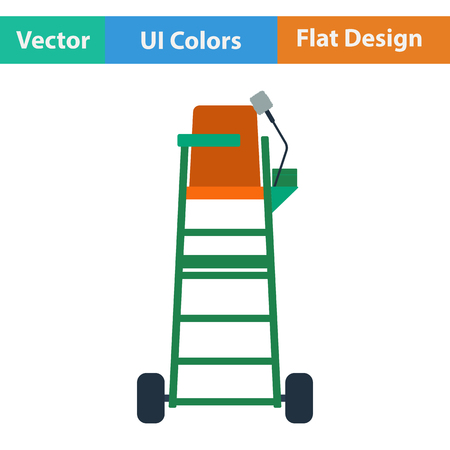 Tennis referee chair tower icon. Flat design. Vector illustration.