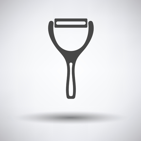 peeler: Vegetable peeler icon on gray background with round shadow. Vector illustration. Illustration