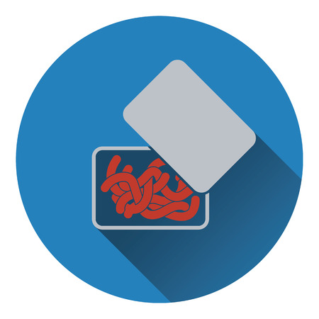 tackle box: Icon of worm container. Flat design. Vector illustration. Illustration