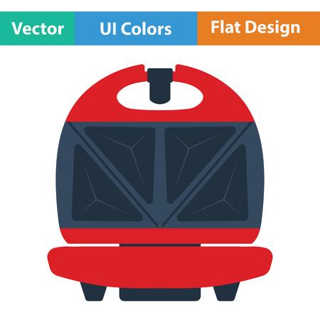 open sandwich: Kitchen sandwich maker icon. Flat design. Vector illustration.