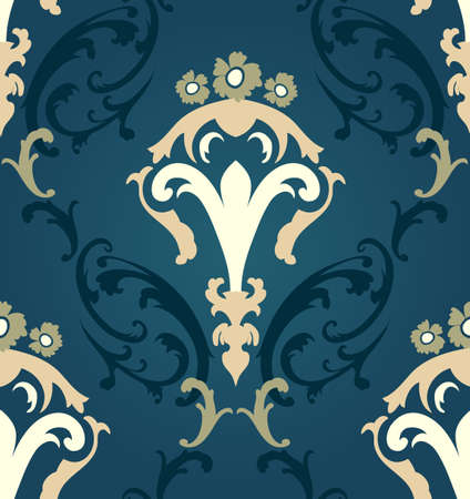 floral elements: Damask seamless pattern from floral and swirl elements. Vector illustration.