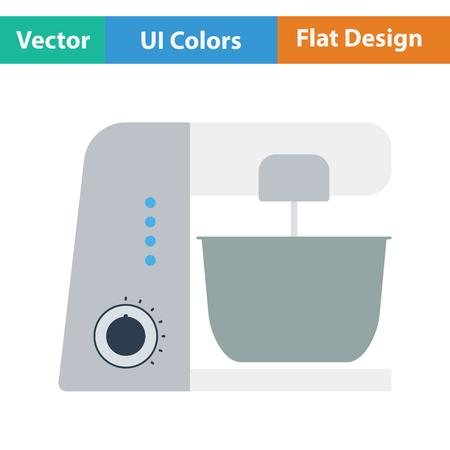 food processor: Kitchen food processor icon. Flat design. Vector illustration. Illustration
