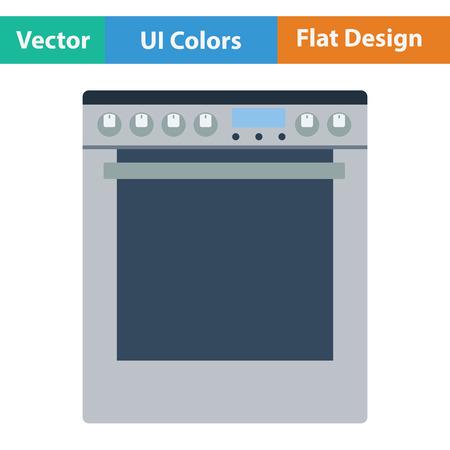 Kitchen main stove unit icon. Flat design. Vector illustration.