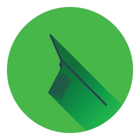 round rods: Icon of  fishing feeder net. Flat design. Vector illustration. Illustration