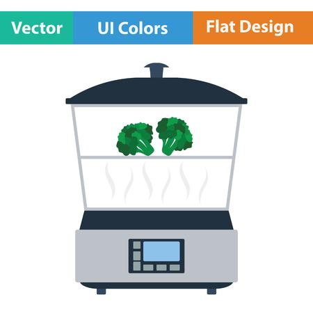 steam cooker: Kitchen steam cooker icon. Flat design. Vector illustration.