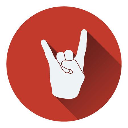 rock hand: Rock hand icon. Flat design. Vector illustration.