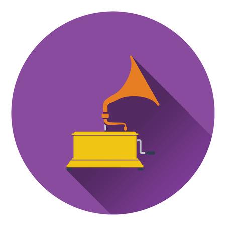 restored: Gramophone icon. Flat design. Vector illustration. Illustration