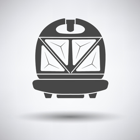 bread maker: Kitchen sandwich maker icon on gray background with round shadow. Vector illustration.