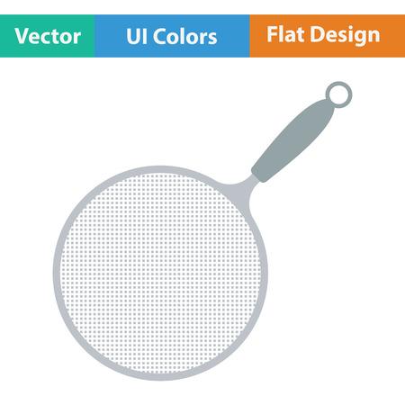 sieve: Kitchen colander icon. Flat design. Vector illustration.