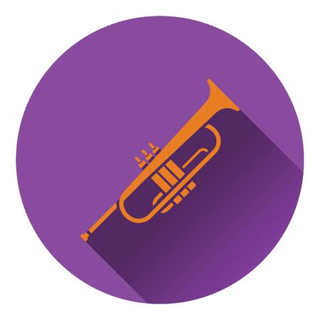 background color: Horn icon. Flat design. Vector illustration.