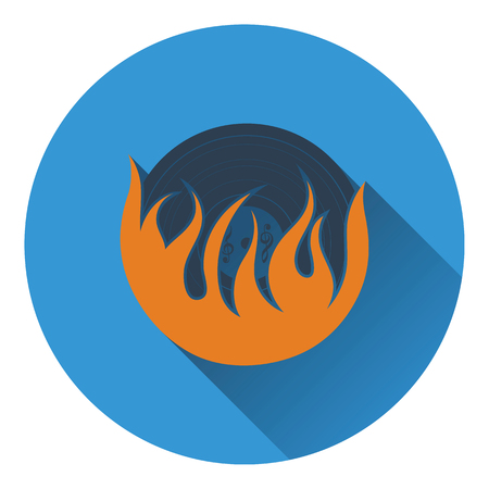 vinyl record: Flame vinyl icon. Flat design. Vector illustration.