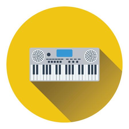 Music synthesizer icon. Flat design. Vector illustration.