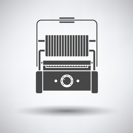 Kitchen electric grill icon on gray background with round shadow. Vector illustration. Illustration