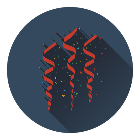 Party serpentine icon. Flat design. Vector illustration.