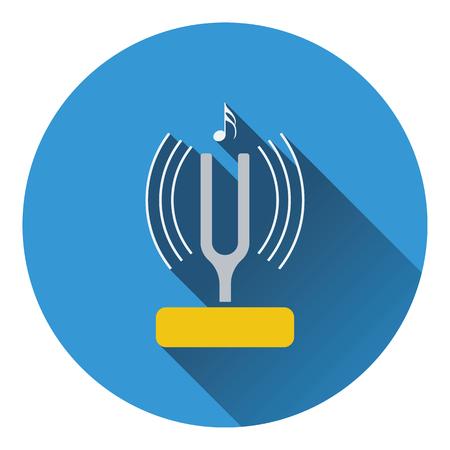 diapason: Tuning fork icon. Flat design. Vector illustration.