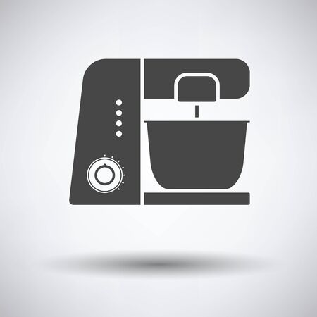 food processor: Kitchen food processor icon on gray background with round shadow. Vector illustration. Illustration