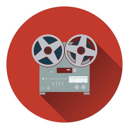 tape recorder: Reel tape recorder icon. Flat design. Vector illustration.