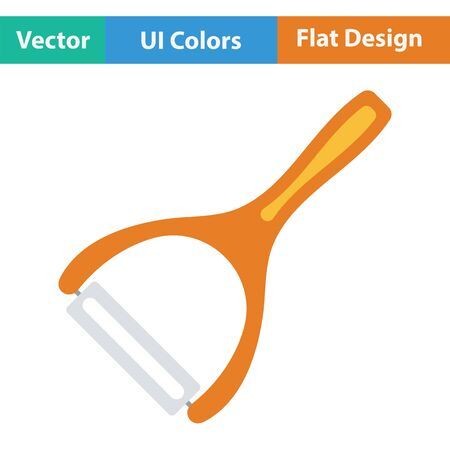 peeler: Vegetable peeler icon. Flat design. Vector illustration.