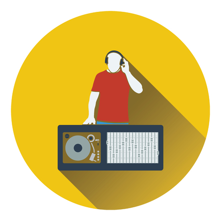 disk jockey: DJ icon. Flat design. Vector illustration.