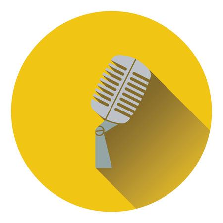 microfono antiguo: Old microphone icon. Flat design. Vector illustration. Vectores