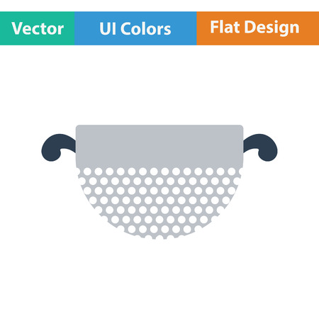 Kitchen colander icon. Flat design. Vector illustration.