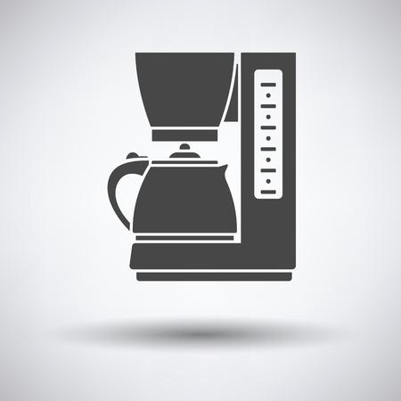 copy machine: Kitchen coffee machine icon on gray background with round shadow. Vector illustration. Illustration