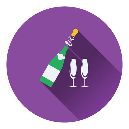 clink: Party champagne and glass icon. Flat design. Vector illustration. Illustration