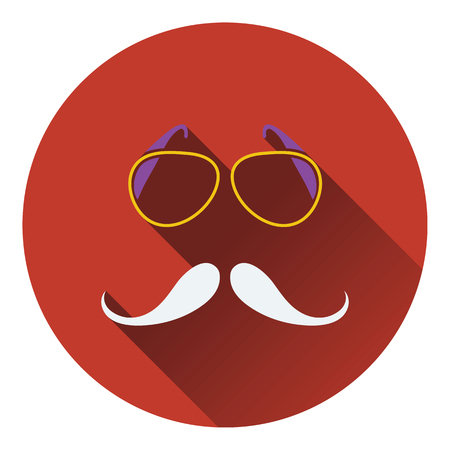 Glasses and mustache icon. Flat design. Vector illustration.
