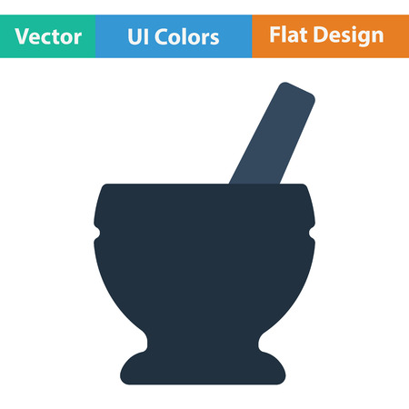 chinaware: Mortar and pestle icon. Flat design. Vector illustration. Illustration