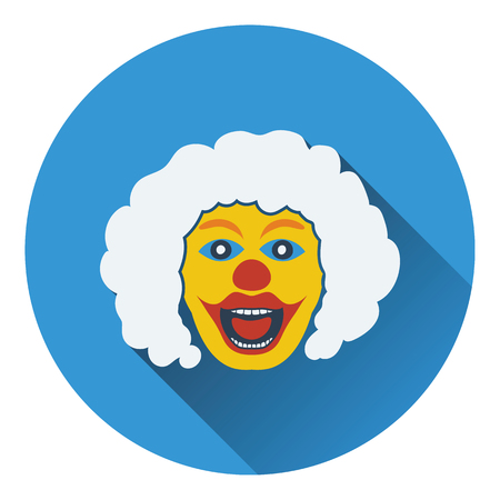 Party clown face icon. Flat design. Vector illustration.