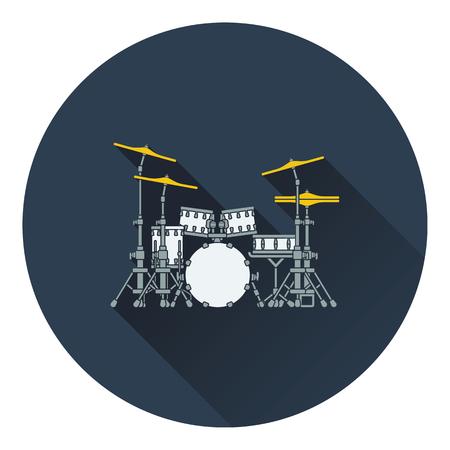 school kit: Drum set icon. Flat design. Vector illustration. Illustration
