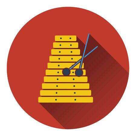 Xylophone icon. Flat design. Vector illustration.