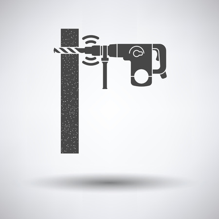perforator: Icon of perforator drilling wall on gray background with round shadow. Vector illustration. Illustration