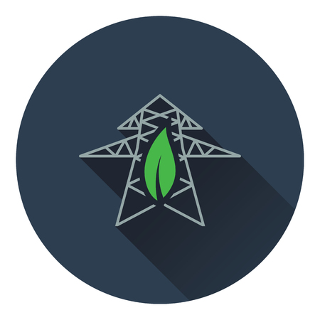 electric tower: Electric tower with leaf icon. Flat design. Vector illustration.