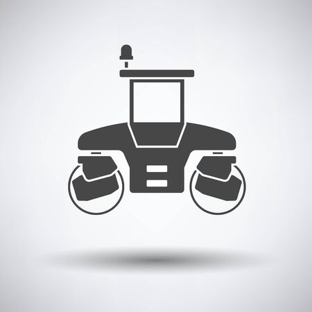 steamroller: Icon of road roller on gray background with round shadow. Vector illustration.