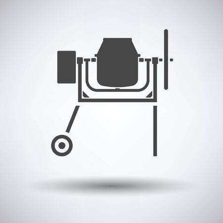 worksite: Icon of Concrete mixer on gray background with round shadow. Vector illustration. Illustration