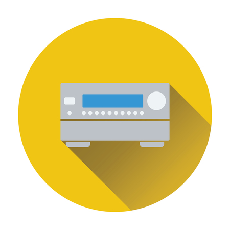 home theater: Home theater receiver icon. Flat design. Vector illustration. Illustration
